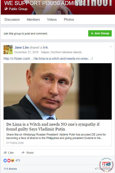 Putin called De Lima Witch