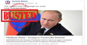 Busted: Putin compared Trump to Duterte for being vocal? Nope, it's another hoax