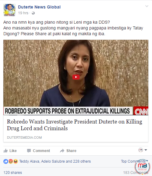 Robredo Wanted Duterte Investigated Killing Drug Lords