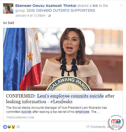 Robredos Employee Committed Suicide LeniLeaks