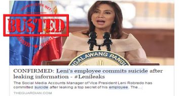 Busted: Robredo's employee committed suicide after leaking info in LeniLeaks? Hoax alert!
