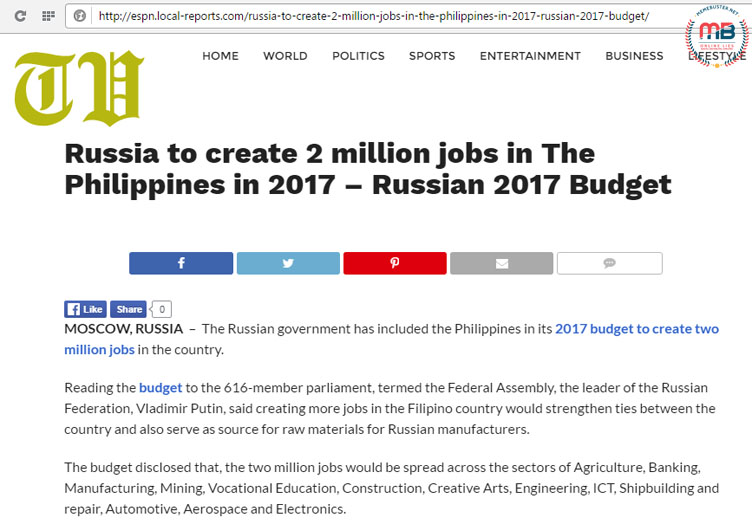 Russia Budget Include Jobs in PH