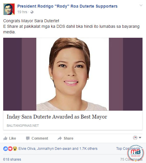 Sara Duterte Awarded Best Mayor