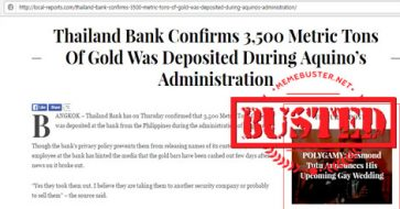 Busted: Thailand Bank confirmed gold deposited during Aquino administration? Another fake article!