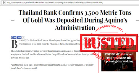 Thailand Bank Gold Deposited Aquino Administration