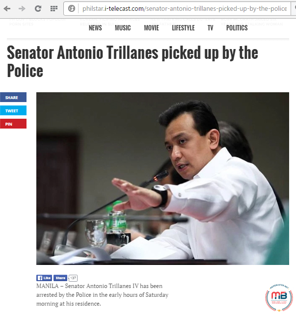 Trillanes Arrested in His House