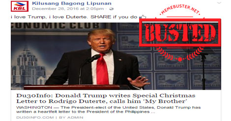 Trump Christmas Message to Duterte