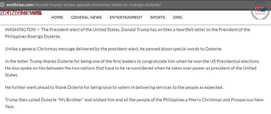 Trump Christmas Message to Duterte