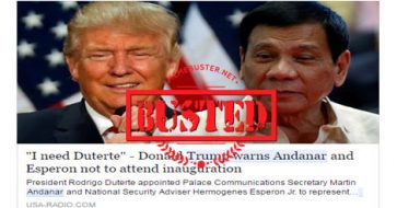 "Busted: Trump said he ""needs"" Duterte, warned Andanar, Esperon not to attend his inauguration? Hoax alert!"