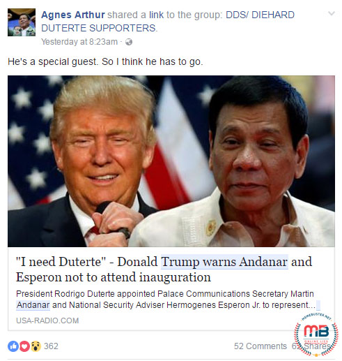 Trump Said he Needs Duterte