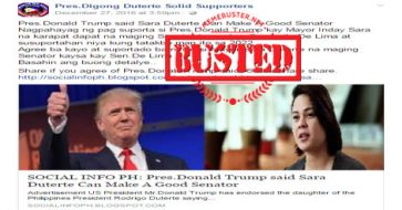 Busted: Trump said Sara Duterte can be a good senator? It's another made up story!