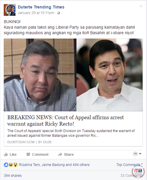 Arrest Warrant Against Ricky Recto