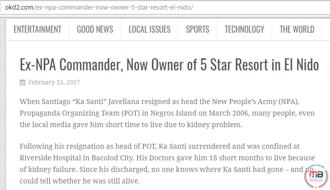 Ex NPA Commander Owns Resort