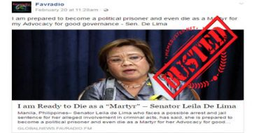 Busted: De Lima DID NOT say she's ready to die as a martyr! It's another fake news!