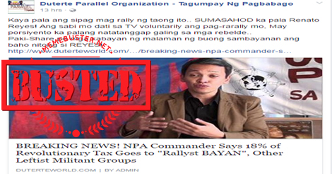NPA Pays Revolutionary Tax to BAYAN