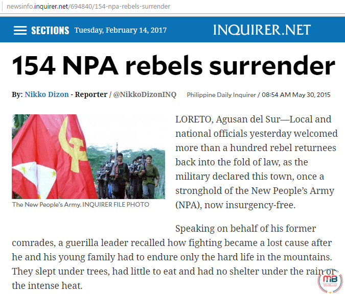 NPA Surrendered in Agusan del Sur