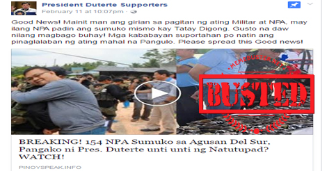 "Duterte fan page ""President Duterte Supporters"" shared an article about how 154 NPA rebels allegedly surrendered in Agusan Del Sur."