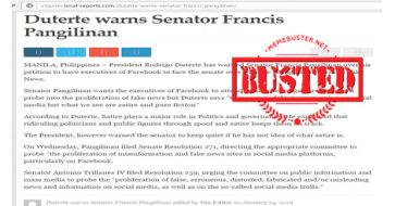 Busted: Duterte warned Pangilinan for filing senate resolution over fake news? He didn't!
