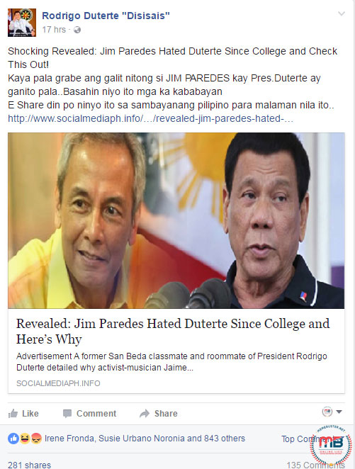 Jim Paredes hated Duterte since college