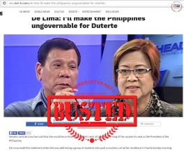 Busted: De Lima DID NOT threaten to make PH ungovernable for Duterte