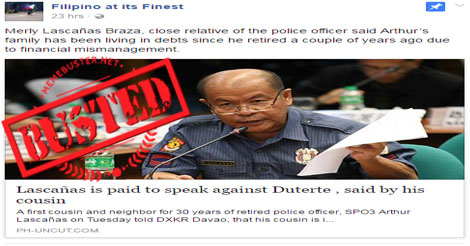 Lascañas paid to speak vs. Duterte