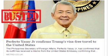 Busted: Yasay confirmed Trump's visa-free travel policy to the US? This is a HOAX!