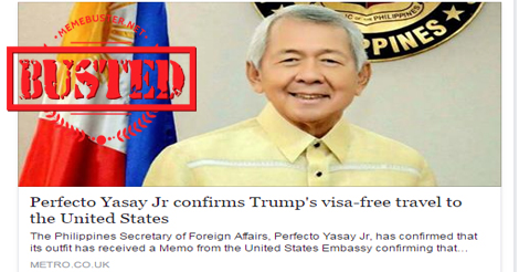 Yasay Confirmed Trumps Visa Free
