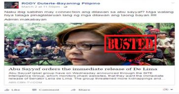 Busted: Abu Sayyaf ordered De Lima's immediate release? It's a hoax!