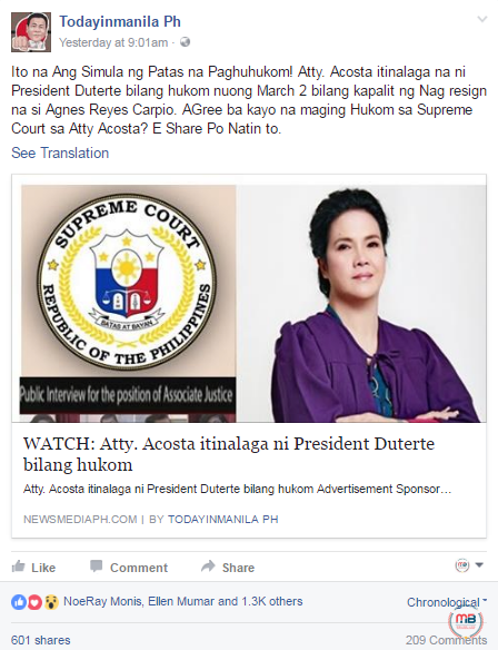 Duterte appointed a different Acosta to CA
