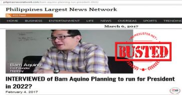 Busted: Bam Aquino DID NOT say he's ready for 2022 presidential candidacy! It's fake meme!
