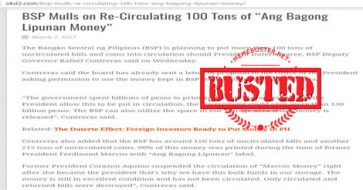 "Busted: Is BSP mulling the circulation of 100 tons of ""Ang Bagong Lipunan"" money? Fake news!"
