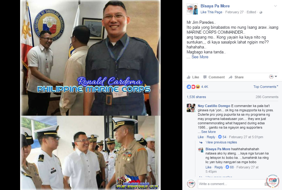 Jim Paredes Addresses Netizens Claiming He Has Video: Busted: Duterte Youth Leader Was A Dismissed PMA Cadet