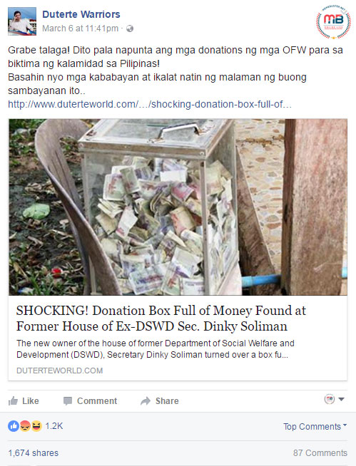 money found in Dinky Soliman's old house
