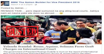 Busted: Are Roxas, Aquino, Soliman facing graft charges on international court? Fake news!