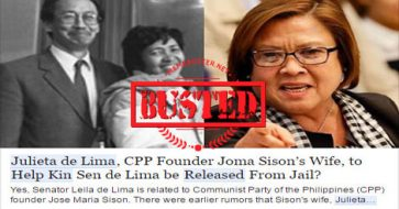 Busted: Joma Sison's wife to help De Lima get released from jail? Fake news!