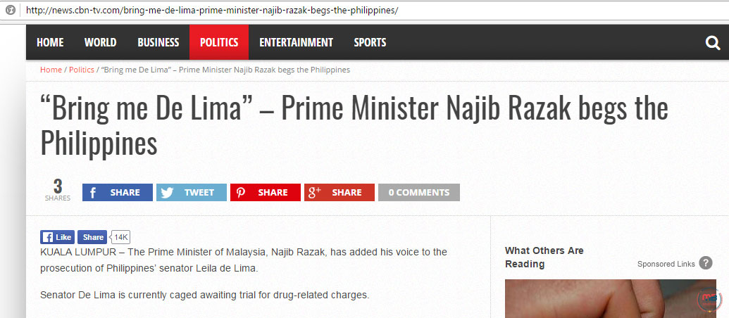 Malaysian PM wants to try De Lima