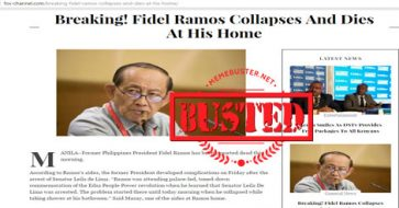 Busted: Ramos collapsed and died? FVR seemed to be a recent favorite of death hoax makers!