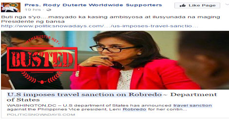 US impose travel sanction on Robredo
