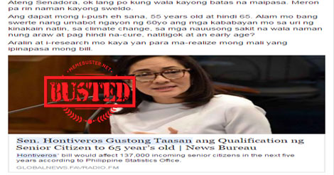 Hontiveros wants to raise senior citizen age