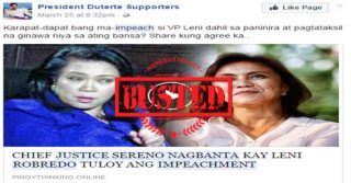 Busted: CJ Sereno warned Robredo about pushing through with impeachment against her? Misleading title!