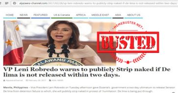 Busted: Robredo warned about stripping naked if De Lima isn't released in 2 days? Hoax alert!