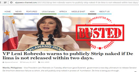 Robredo warned about stripping naked