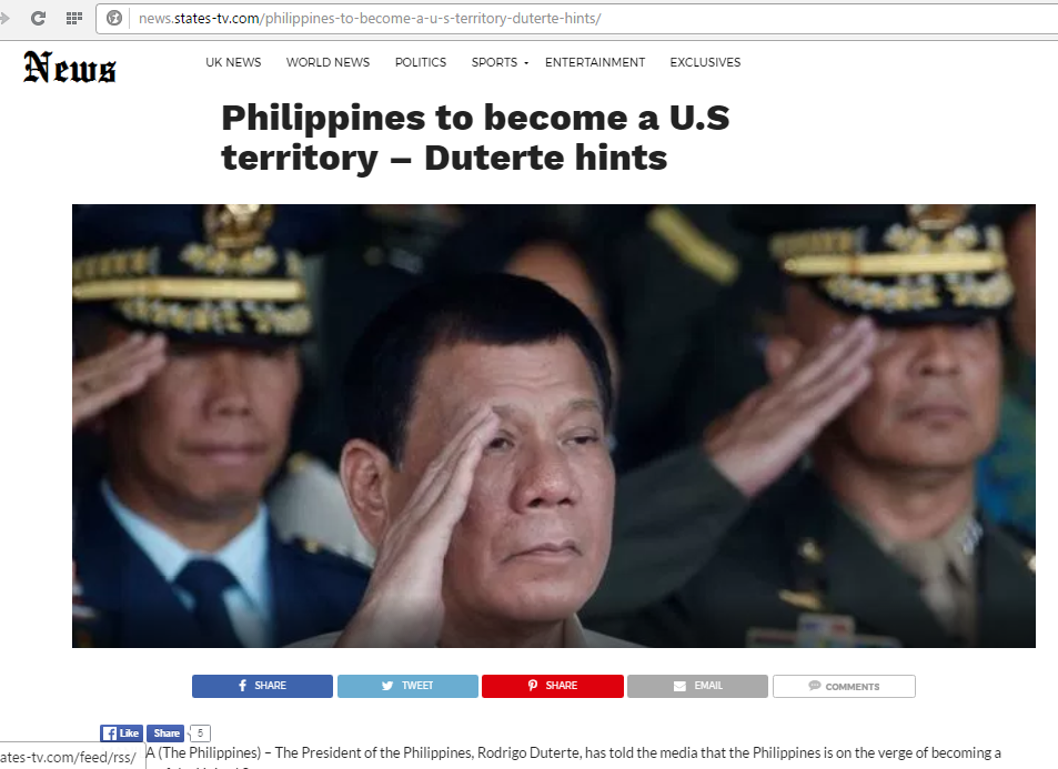 Duterte hint that PH will become US territory