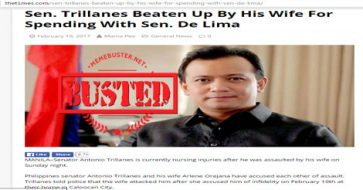 Busted: Trillanes' wife DID NOT beat him for spending time with De Lima but netizens still bought this LIE!