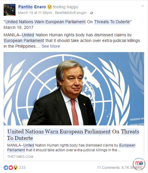 European parliament for threatening Duterte