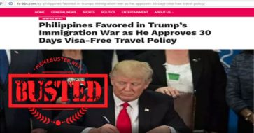 Busted: Trump favored PH in his immigration war with 30-day visa-free travel policy? HOAX alert!