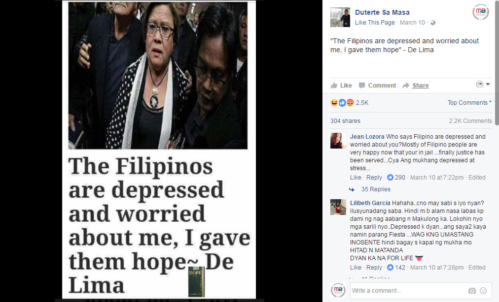 Filipinos depressed and worried for De Lima