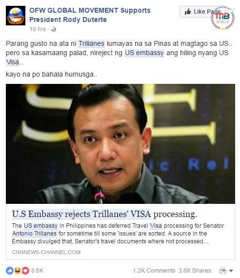 US Embassy denied Trillanes