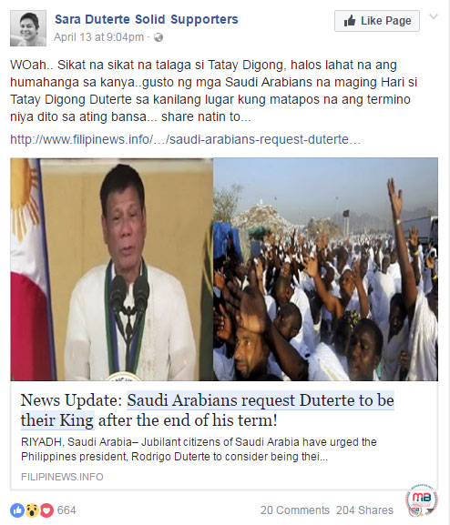 Saudi Arabians requested Duterte to be their king