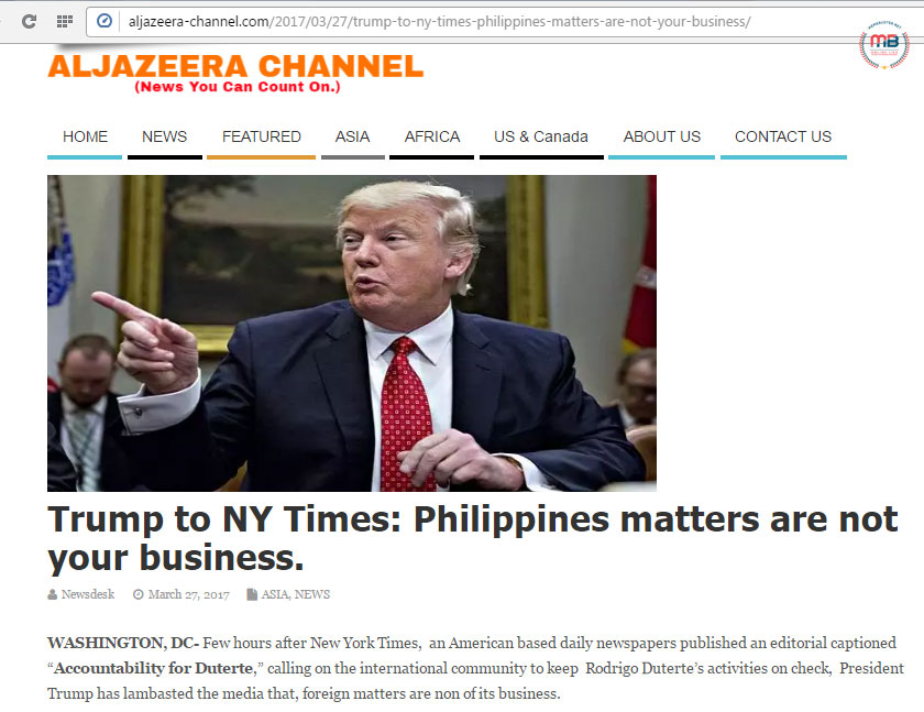 Trump told NY Times PH matters are none of their business